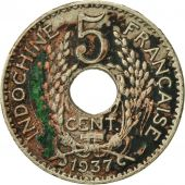 FRENCH INDO-CHINA, 5 Cents, 1937, Paris, VF(20-25), Copper-nickel, KM:18