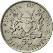 Kenya, 50 Cents, 1975, AU(55-58), Copper-nickel, KM:13