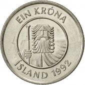 Iceland, Krona, 1992, SUP, Nickel plated steel, KM:27A