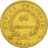 France, Napoléon I, 40 Francs, 1811, Paris, TTB, Or, KM:696.1, Gadoury:1084