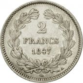 France, Louis-Philippe, 2 Francs, 1847, Paris, AU(55-58), Silver, KM:743.1