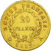 France, Napoléon I, 20 Francs, 1812, Paris, TTB, Or, KM:695.1, Gadoury:1025