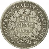 France, Cérès, 20 Centimes, 1850, Paris, VF(20-25), Silver, KM:758.1