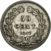 France, Louis-Philippe, 50 Centimes, 1847, Paris, AU(55-58), Silver, KM:768.1
