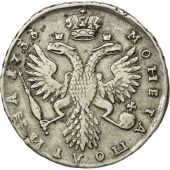 Russie, Anna, Poltina, 1/2 Rouble, 1733, Moscow, TTB, Argent, KM:195