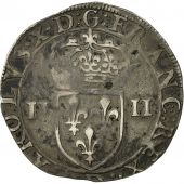 France, Charles X, 1/4 Ecu 2nd type, 1593, Lyon, TB+, Argent, Sombart:4674