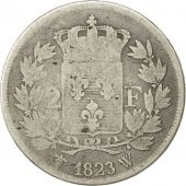 France, Louis XVIII, 2 Francs, 1823, Lille, F(12-15), Silver, KM:710.12