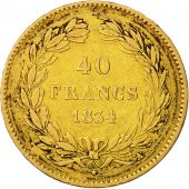 France, Louis-Philippe, 40 Francs, 1834, Paris, TB+, Or, KM:747.1, Gadoury:1106