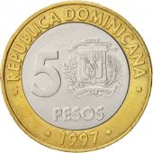 Dominican Republic, 5 Pesos, 1997, Bi-Metallic, KM:88