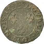 Coin, France, Double Tournois, 1578, Paris, VF(30-35), Copper, Sombart:4068