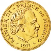 Coin, Monaco, 5 Francs, 1971, MS(65-70), Gold, KM:E60, Gadoury:MC 153