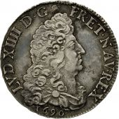 Coin, France, Louis XIV, 1/2 Écu aux 8 L, 1/2 Ecu, 1690, Amiens, AU(50-53)