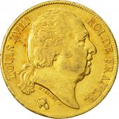 Coin, France, Louis XVIII, 20 Francs, 1818, Paris, AU(50-53), Gold, KM 712.1