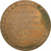 Coin, France, Lavoisier par Gengembre, 2 Francs, AN 8, ESSAI, MS(60-62), Copper