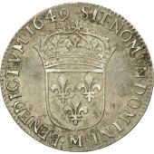 Coin, France, Louis XIV, 1/4 Écu à la mèche longue, 1649, Toulouse, KM 162.13