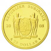 Coin, Surinam, $20, 2008, MS(65-70), Gold, KM:65