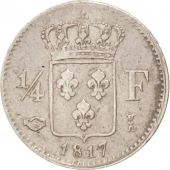 France, Louis XVIII, 1/4 Franc, 1817 I, Limoges, Silver, KM:714.5