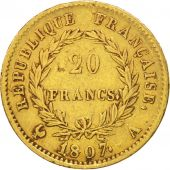 France, Napoléon I, 20 Francs, 1807, Paris, TTB, Or, KM:A687.1, Gadoury:1023a