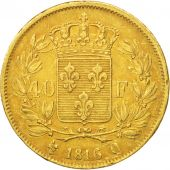 France, Louis XVIII, 40 Francs, 1816, Perpignan, TTB, Or, KM:713.5
