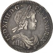France, Louis XIV, 1/12 Écu à la mèche courte, 1644, Paris, KM:140.1
