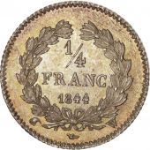 France, Louis-Philippe, 1/4 Franc, 1844, Lille, MS(64), Silver, KM:740.13