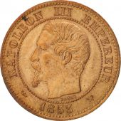 France, 2 Centimes, 1853, Lille, MS(60-62), Bronze, KM:776.7, Gadoury:103