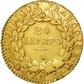 France, 24 livres Convention, 1793, Paris, TB+, Or, KM:626.1