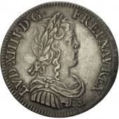 France, Louis XIV, 1/4 Écu à la mèche longue, 1649, Paris, SUP, KM:162.1