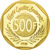 France, René Cassin, 500 Francs, 1998, Paris, MS(65-70), Gold, KM:1957