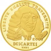 France, Descartes, 500 Francs-70 Ecus, 1991, Paris, FDC, Or, KM:1003
