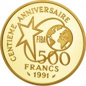 France, Basket-Ball, 500 Francs, 1991, Paris, FDC, Or, KM:977, Gadoury:C28