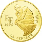 France, Le Penseur de Rodin, 500 Francs-75 Euro, 1996, Paris, SPL, Or, KM:1128