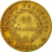 France, Napoléon I, 20 Francs, 1812, Paris, TB, Or, KM:695.1, Gadoury:1025