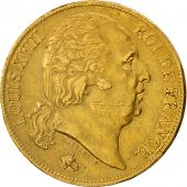 France, Louis XVIII, 20 Francs, 1824, Paris, AU(50-53), Gold