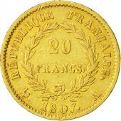 France, Napoléon I, 20 Francs, 1807, Paris, TTB, Or, KM:687.1
