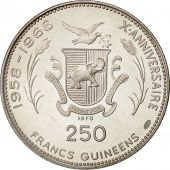 Coin, Guinea, 250 Francs, 1970, MS(63), Silver, KM:21
