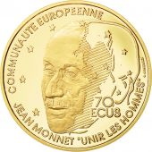 Monnaie, France, Jean Monet, 500 Francs-70 Ecus, 1992, SPL, Or, KM:1013