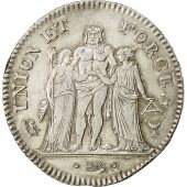 Coin, France, Union et Force, 5 Francs, AN 8, Bordeaux, AU(55-58), Silver