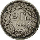 Coin, Switzerland, 2 Francs, 1862, Bern, VF(20-25), Silver, KM:10a