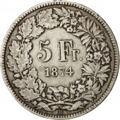 Coin, Switzerland, 5 Francs, 1874, Brussels, EF(40-45), Silver, KM:11