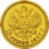 Coin, Russia, Nicholas II, 15 Roubles, 1897, St. Petersburg, EF(40-45), Gold