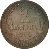 France, Dupuis, 2 Centimes, 1908, Paris, Bronze, KM:841, Gadoury:107