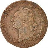 France, Louis XVI, Sol ou sou, Sol, 1777, Lille, Copper, KM:578.16