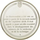 France, Medal, Le thermomètre, Sciences & Technologies, FDC, Argent