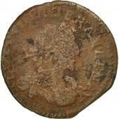 France, Louis XIII, Double Tournois, 1637, F(12-15), Copper, CGKL:512