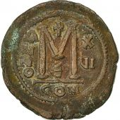 Justinian I, Follis, Year 16 (542-543), Constantinople, 5th officina, AU(50-53)