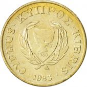 Chypre, 2 Cents, 1983, Nickel-brass, KM:54.1