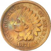 États-Unis, Indian Head Cent, 1874, Philadelphie, SUP, Bronze, KM 90a