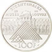 France, 100 Francs, 1993, Mona Lisa, Argent, Proof, KM:1017
