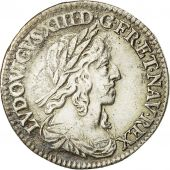 Monnaie, Louis XIII, 1/12 Écu, buste drapé, 1643, Paris Point, SUP, Gadoury 46